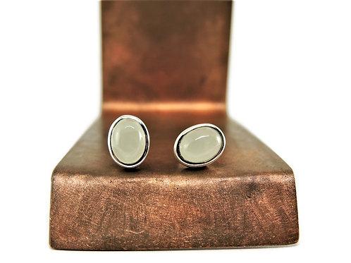Oval Aquamarine Stud Earrings