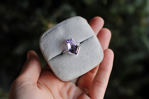 Shield Shaped Amethyst and Diamond Ring