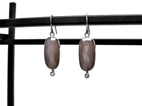 Mink Grey Moonstone and White Topaz  Earrings by Linda Blumel