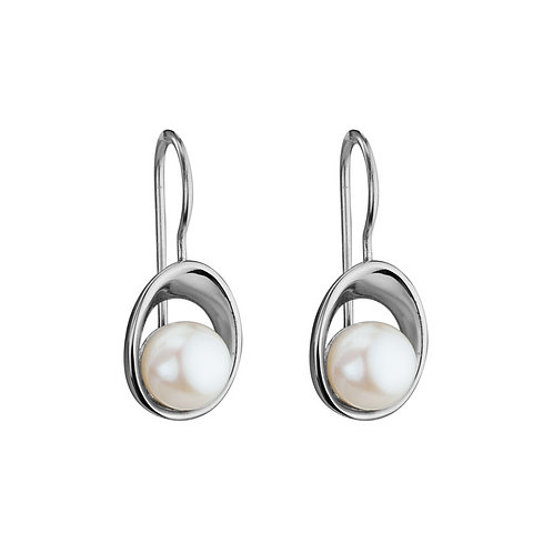 Open Oval Pearl Earrings
