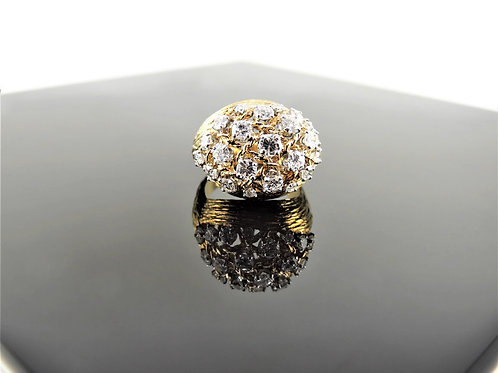 Gold and Diamond Domed Cluster Ring