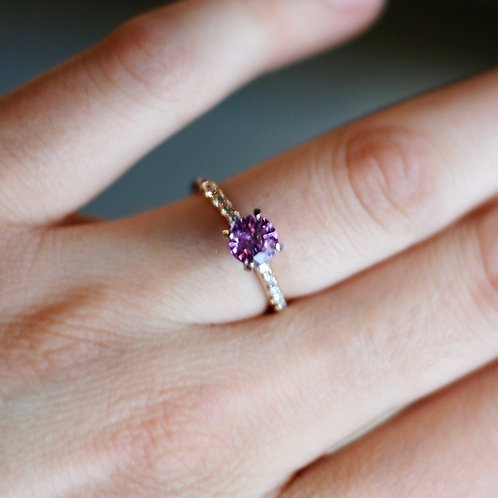 Pink Sapphire 14k Rose Gold Engagement Ring