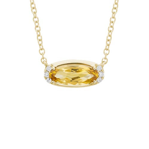 Oval Citrine Necklace in 14k Yellow Gold