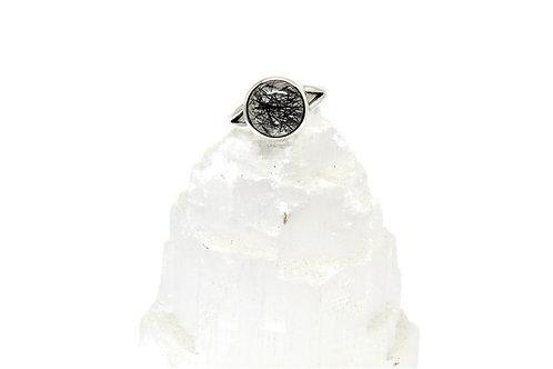 Round Black Tourmalated Quartz Ring