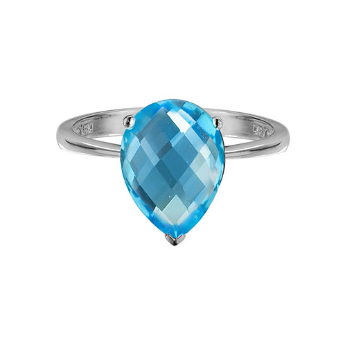Pear Shaped Checkerboard Cut Blue Topaz Ring
