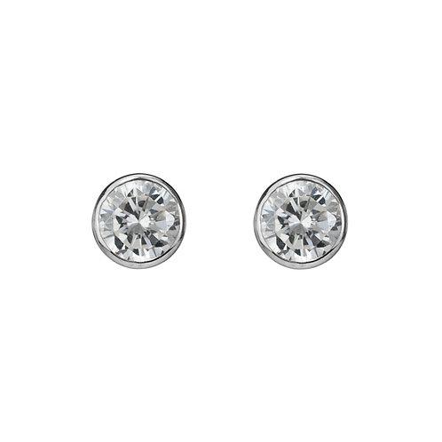 Bezel Set Cubic Zirconia Earrings