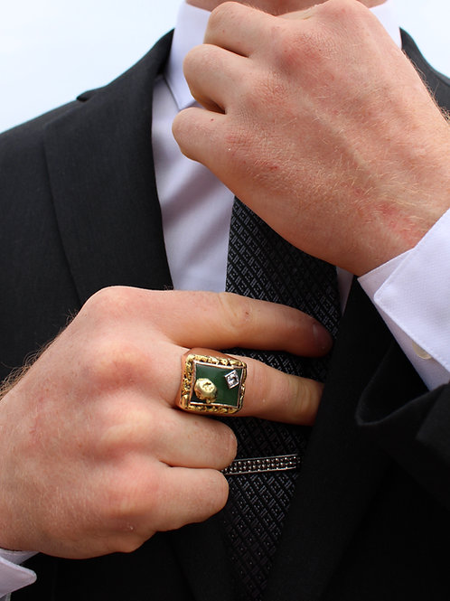 Mens Yellow Gold Ring with Diamond, Pure Gold Nugget, and Jade