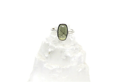 Long Cushion Shaped Green Tourmaline Ring