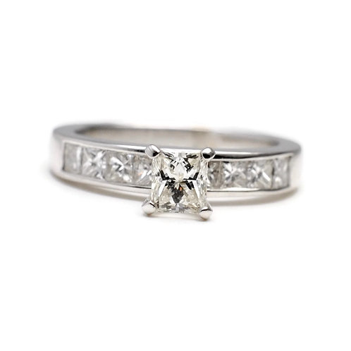 Princess Cut Ring with Channel Set Stones