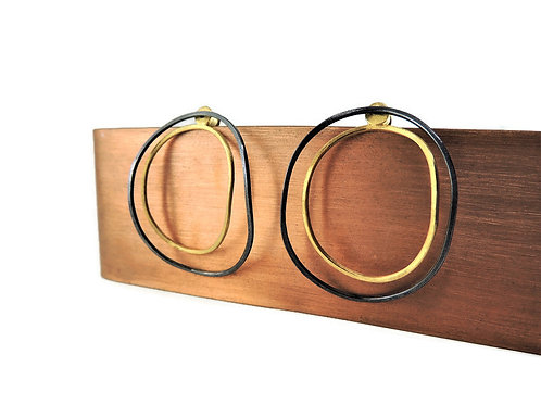 Black and Gold Bent Oval Post Earrings by Mysterium