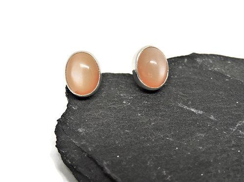 Oval Peach Moonstone Earrings by Linda Blumel