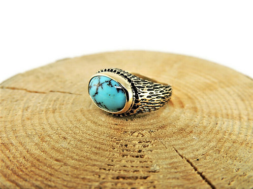 Gold and Turquoise Textured Ring