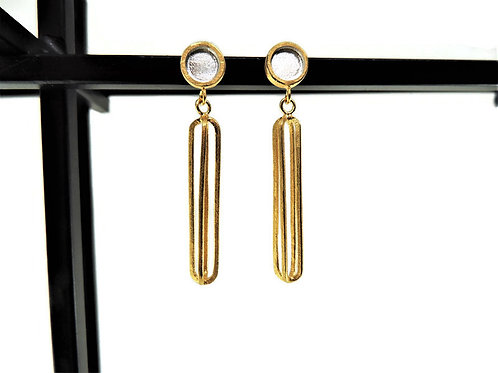 Gold Plated Elongated Cage Earring by Mysterium