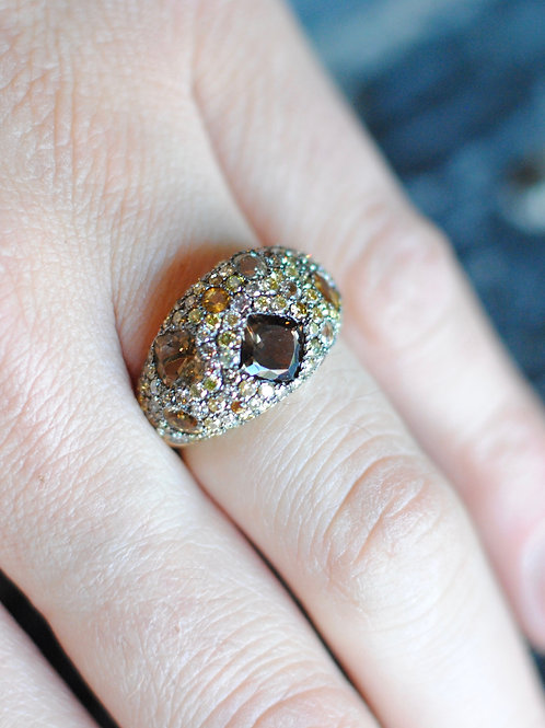 Multi-Color Pave Diamond Ring