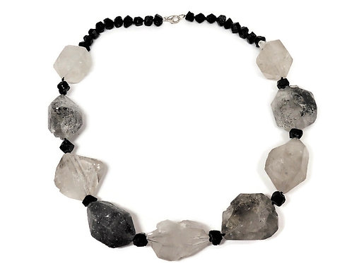Quartz and Black Garnet Necklace