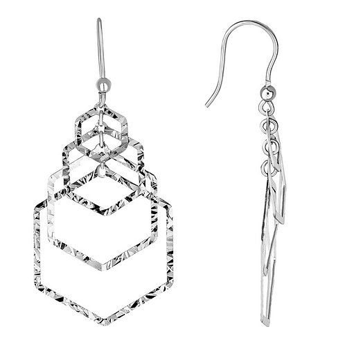 Open Hexagon Dangle Earrings
