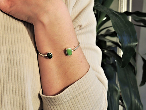 Gaspeite and Chrome Diopside Cuff Bracelet