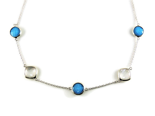 Quartz Topped Turquoise & Mother of Pearl Necklace by Stephen Estelle