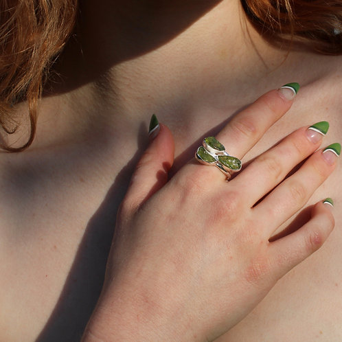 Rough Peridot and Sterling Silver Ring