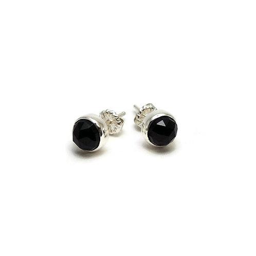 Rose Cut Black Onyx Earrings by Linda Blumel