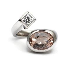 Diamond and morganite wrap ring