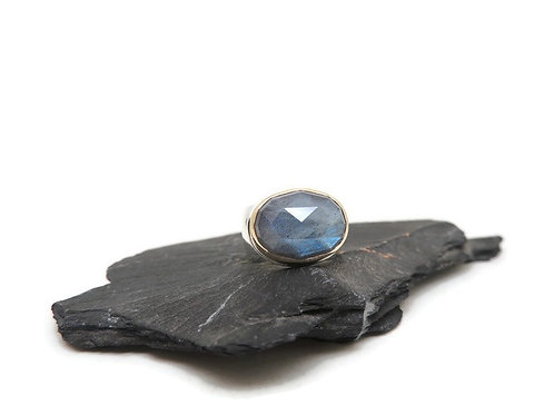 Rose Cut Labradorite Ring by Linda Blumel