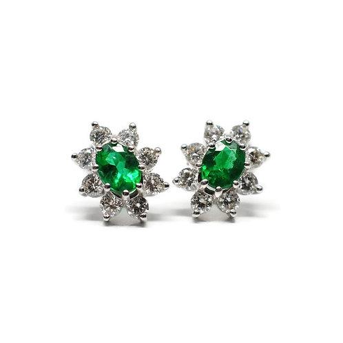 Vintage-Style Emerald Cluster Earrings