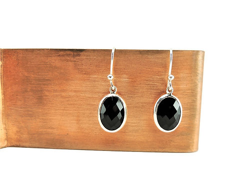 Faceted Oval Onyx Earrings by Stephen Estelle