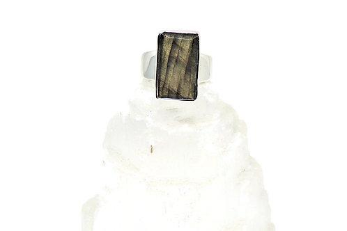 Faceted Rectangular Labradorite Ring