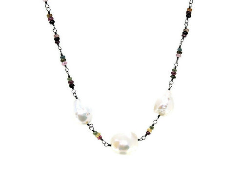Tourmaline and Baroque Pearl Beaded Necklace