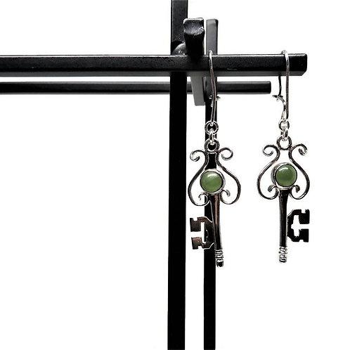 Green Jade Key Earrings