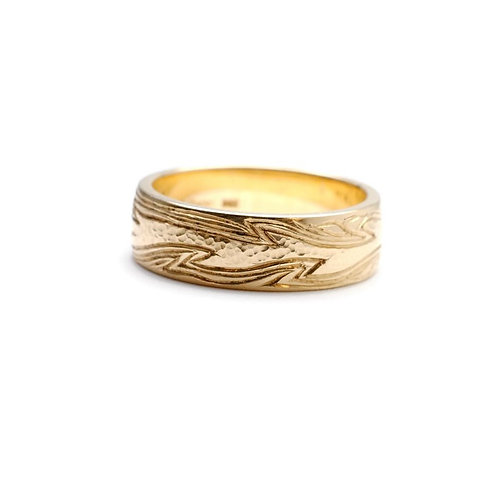 Hand Engraved Men's Ring with Flame Design