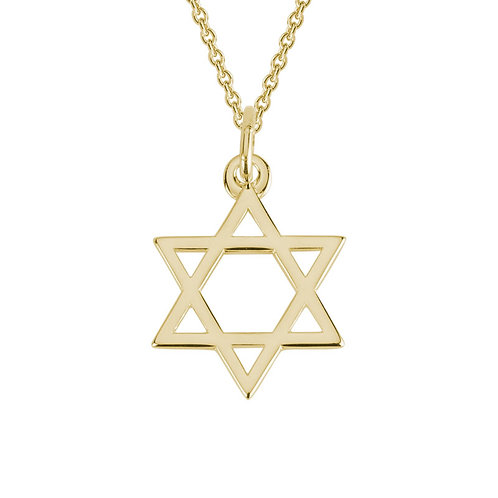 Yellow Gold Star of David Necklace