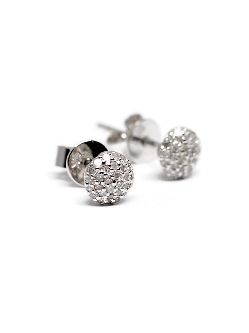 Round Pave Diamond Stud Earrings in 14k White Gold
