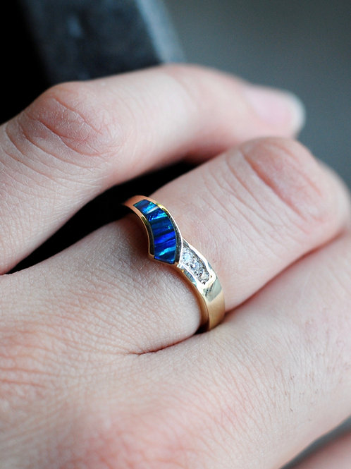 Created Blue Opal and Diamond Ring