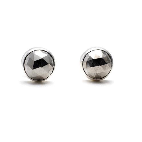 Rose Cut Pyrite Stud Earrings by Linda Blumel