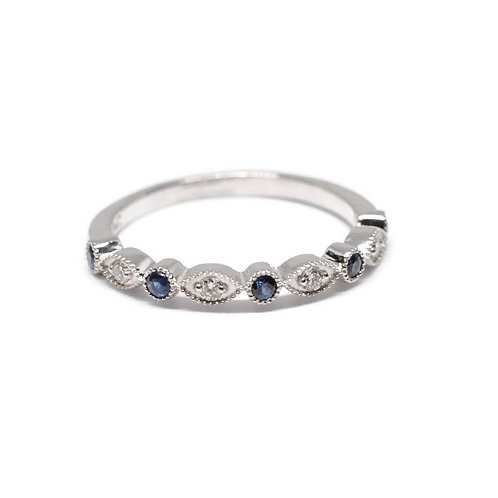 Blue Sapphire and 14k White Gold Milgrain Diamond Band