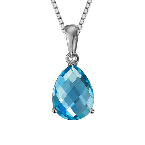 Pear Shaped Checkboard Blue Topaz Necklace