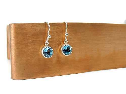 Round Blue Topaz Drop Earrings by Stephen Estelle