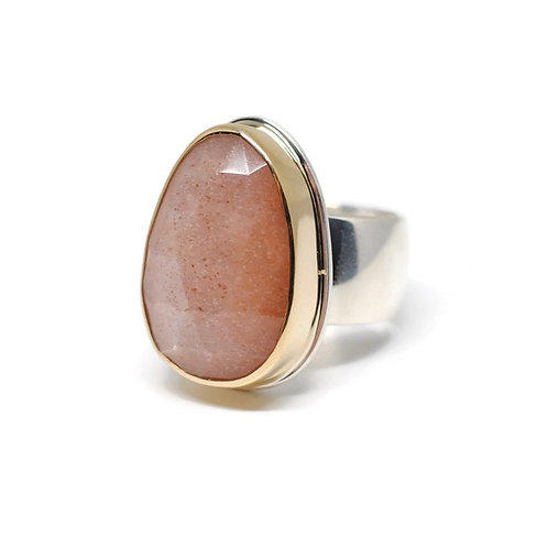Rose Cut Peach Moonstone Ring by Linda Blumel