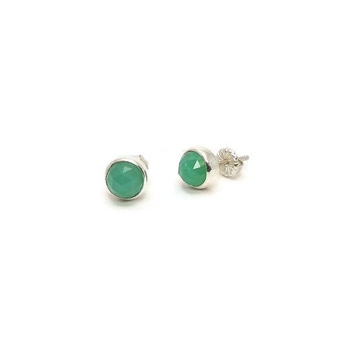 Rose Cut Chrysoprase Earrings by Linda Blumel