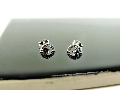 Sterling Silver Rainbow Post Earrings