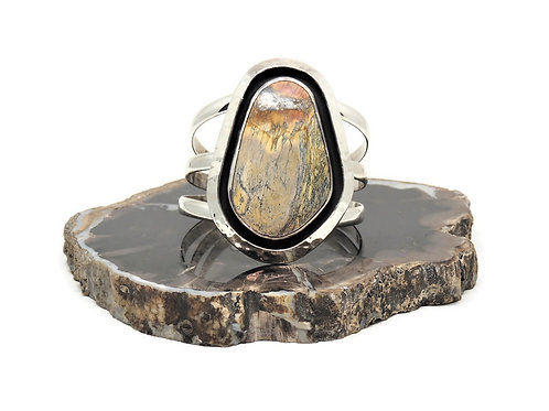 Yellow-Brown Turquoise Cuff