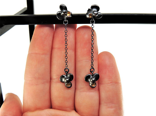 Oxidized Sterling Silver Orchid Post Earrings by Mysterium