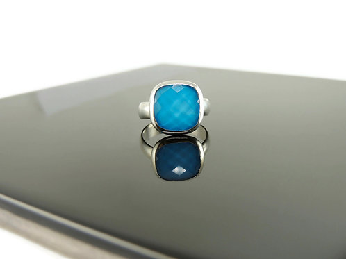 Cushion Cut Turquoise Ring by Stephen Estelle
