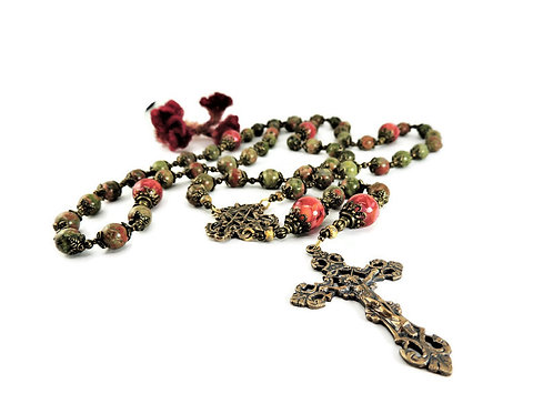 Unakite, Natural Shell, & Bronze Rosary by Elizabeth Brummel