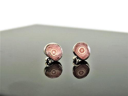 Rhodochrosite Post Earrings by Linda Blumel
