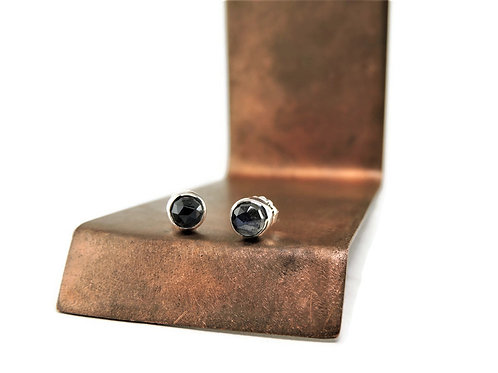 Small Round Labradorite Stud Earrings by Linda Blumel