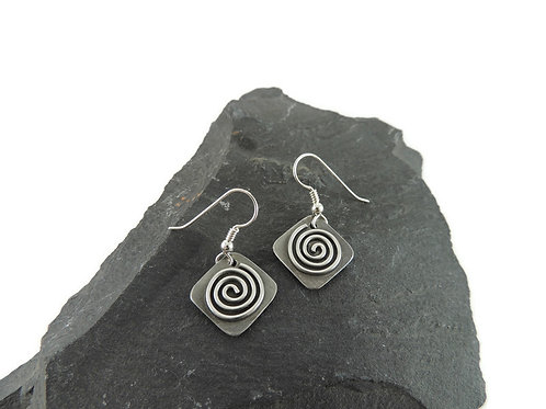 Square Spiral Sterling Silver Earrings