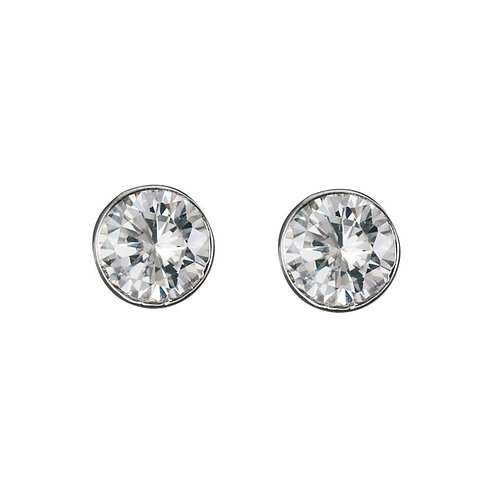 Bezel Set Cubic Zirconia Earrings
